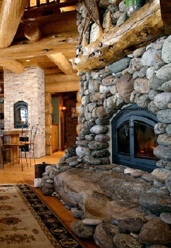 River Stone Fireplace 118 best e-45) domesticriver rock and antique fireplaceswood