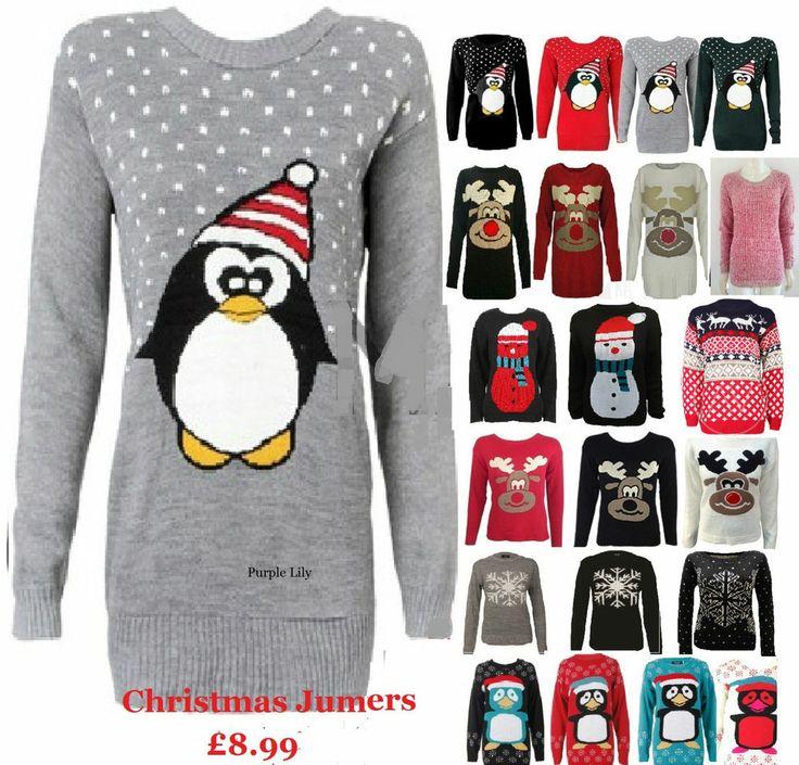 Mens Ladies Christmas Jumper Reindeer Fairisle Snowman Winter Cute Penguin Xmas #PurpleLily #Jumpers