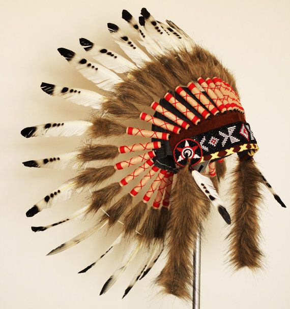 X06 Three colors Black and White indian Feather Headdress / native american Warbonnet . by theworldoffeathers. Explore more products on http://theworldoffeathers.etsy.com