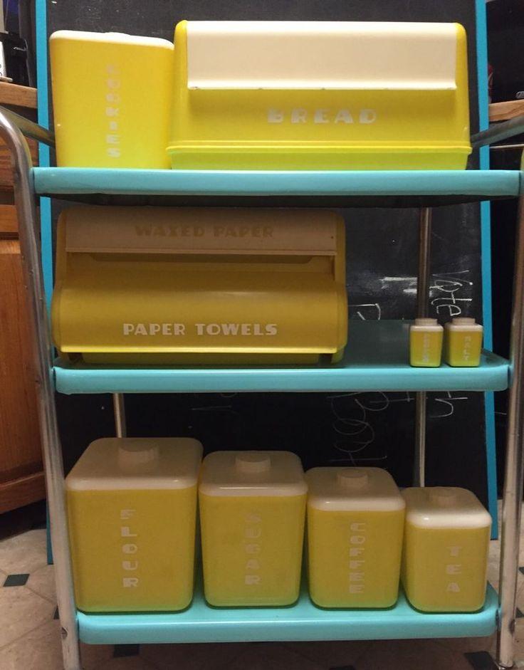 Vintage Midcentury Plastic Lustroware Yellow Canister Set Bread Box Waxpaper