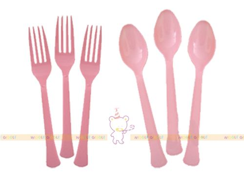 Light Pink Cutlery. These adorable plastic cutlery are perfect for your next party! We also offer coordinating plates, napkins and cutleries. Visit us at www.wigglegiggle.com