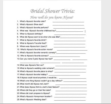 Bling Bridal Shower Games! | Lifelong Learning