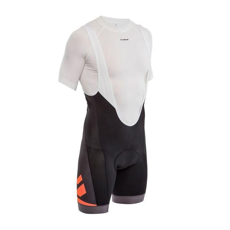 £0.00 - Cycling clothing - 520 Cycling Bib Shorts - Black/Orange - B'TWIN