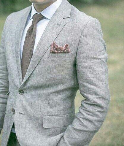 Grey Linen suit, light blue mercerised agypt cotton shirt, brown knit tie, brown linen pocket square