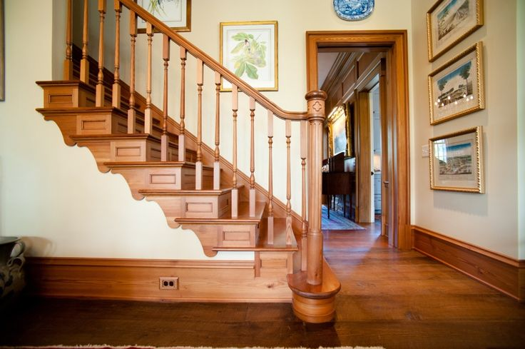 Heart Pine Staircase with heart pine newel post, handrail, balusters step treads.