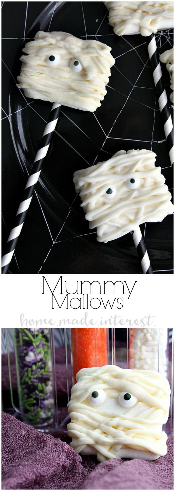 Are you ready for this seriously cute Marshmallow Halloween recipe? These adorable Mummy Marshmallows are an easy Halloween recipe that just takes some melted candys and a big campfire marshmallow. Kids are going to love this Halloween Dessert recipe and it is easy enough to make for a Halloween party.