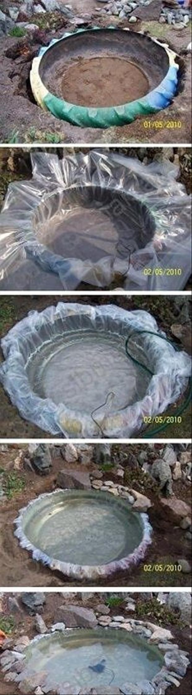 Great idea to use a large old tire to make a pond. I'm not sure I'd use an old tire, but many other items would apply.