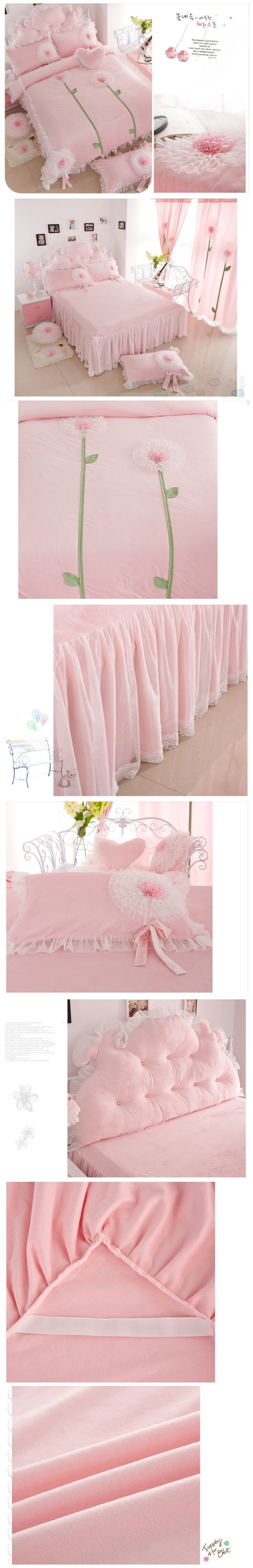 Korean Pink Princess Bedding Set Twin Queen Size Kids Girls Lace Ruffle Duvet Cover Sets Velvet Comforter Sets