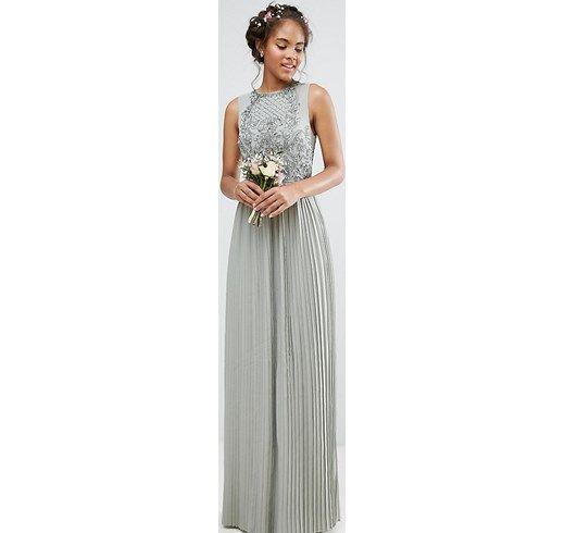 Vestido largo con parte superior adornada con falda plisada de Maya Tall asos el-gris Poliéster