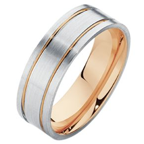 Beautiful white gold and rose gold gents wedding ring.