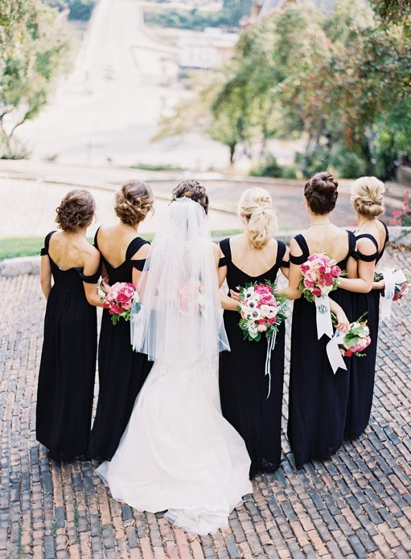 Floor Length Black Bridesmaids Dresses with Pink Bouquets | Jordan Brittley Photography | http://heyweddinglady.com/whimsical-kate-spade-wedding-black-tie/