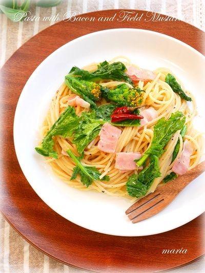 菜の花とベーコンのペペロンチーノ by mariaさん | レシピブログ ...