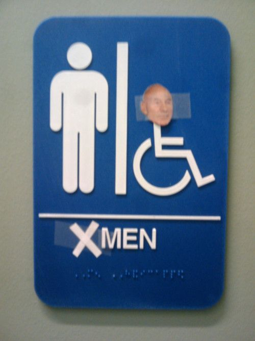 laughing so hard: Laughing, Xmen, Funny Pictures, Humor, Restroom Signs, So Funny, X Men'S, Patrick'S Stewart, Bathroom Signs