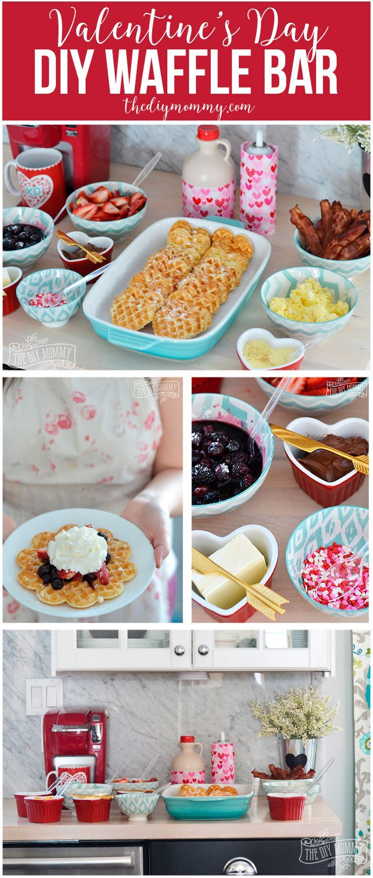 Valentine's Day DIY Waffle Bar with tons of waffle topping ideas!  #ValentinesDay #brunch