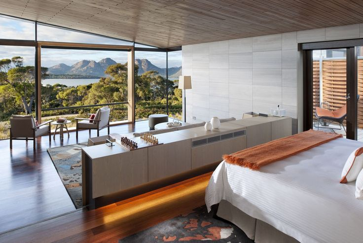 One of the 20 exclusive guest rooms at the Saffire Freycinet in Tasmania, a truly luxurious hideaway for the well-heeled traveller to Australia.