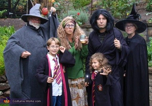 Harry Potter Family Halloween Costume Ideas, including Dumbledore, Professor Trelawney, Hermione, and Snape