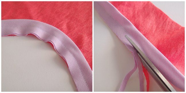 how to finish a neckline with bias binding