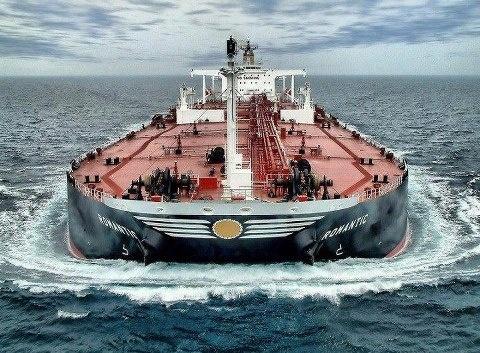Loaded down tanker ship.