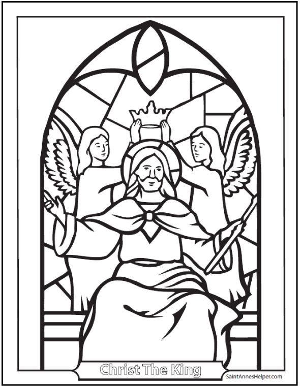 Jesus Christ King Coloring Page Latin English Christus