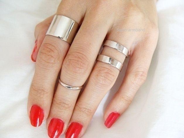 zilver knokkel Ring set, Verstelbare ring, 3 stuks van Superarmband op DaWanda.com