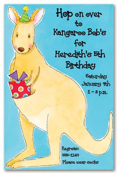 Celebrating Kangaroo Birthday Birthday Party Invitations