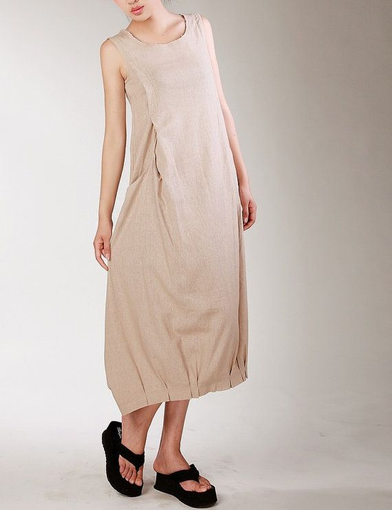 Easy Beige Maxi Dress Unique Sundress Summer Long Dress (more colour and size choice)
