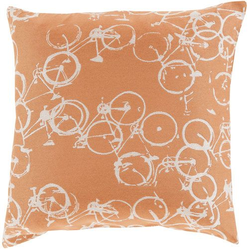 Bold Bicycles Rust and Ivory 18-Inch Pillow with Down Fill