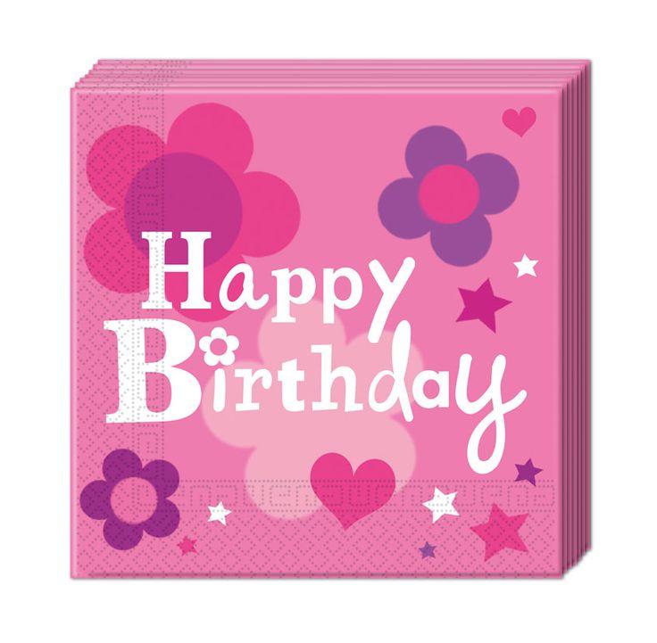 Syntymäpäivä pinkki -servetti
