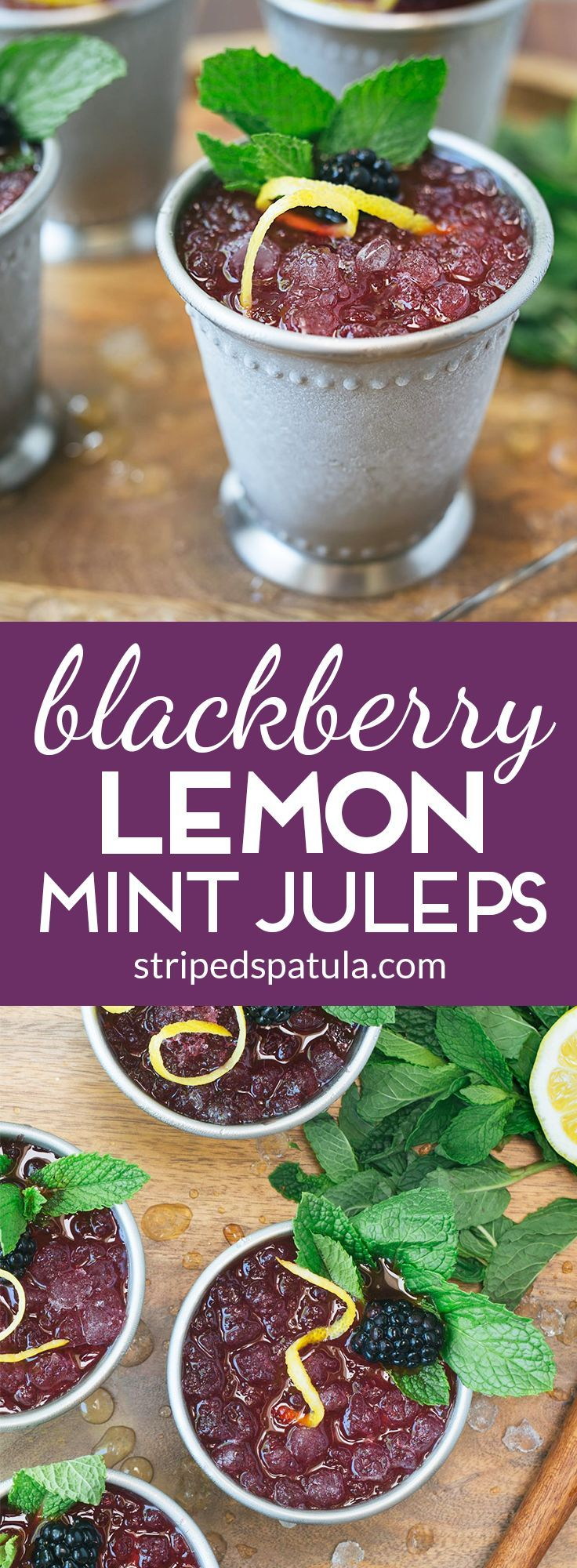 These ice cold Blackberry-Lemon Mint Juleps are a fragrant and refreshing twist on a classic. Perfect for sipping on a warm day!