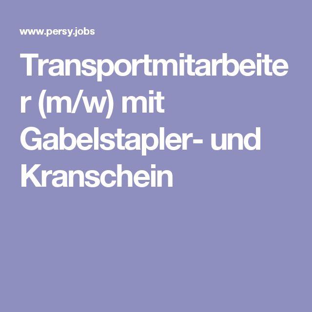 Transportmitarbeiter (m/w) mit Gabelstapler- und Kranschein