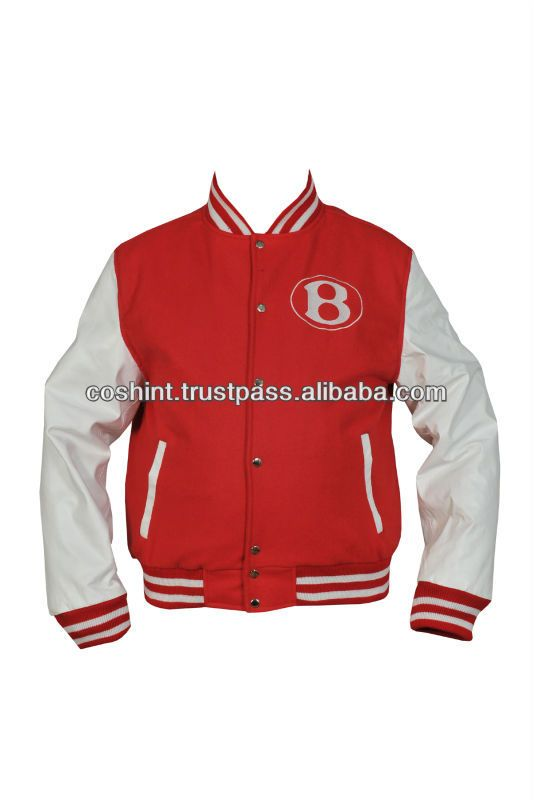 Red And White Embroidered Custom Wool And Leather Varsity Jacket