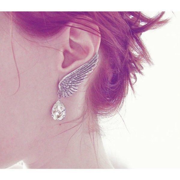 Silver Angel Wings Earrings with Clear Swarovski Crystal