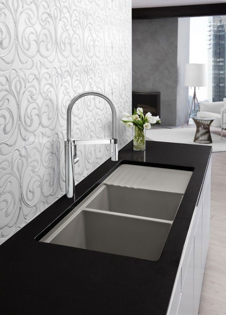 Artistic White Floral Wall Design Combined With Black Countertop Plus Modern - pictures, photos, images