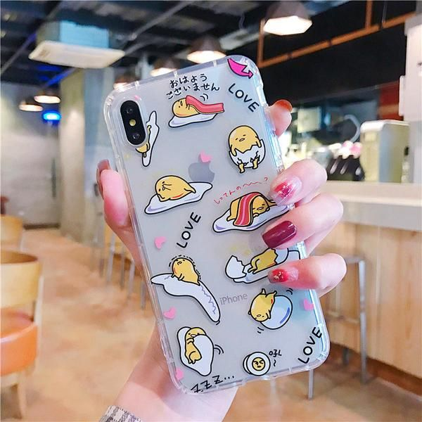 Kawaii Gudetama And Kanahei Phone Case for iphone 6/6s/6plus/7/7plus/8/8P/X/XS/X…