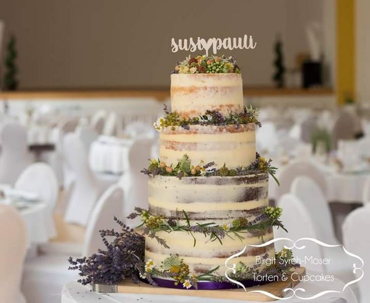Semi Naked Wedding Cake with fresh flowers, berries and lavender - Birgit Syrch-Moser - Google+