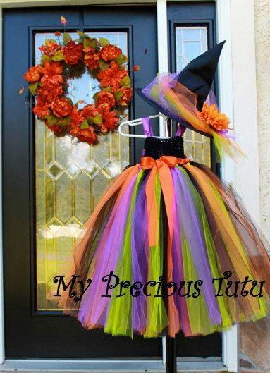 Halloween Witch Tutu Dress and Hat - made to order. The flower on the hat will either be orange, green or purple depending on inventory. I can