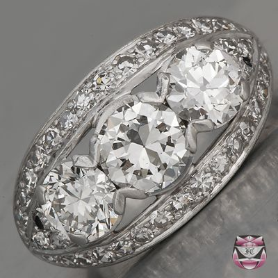 Vintage Diamond Engagement Ring - Certified Three Stone European-cut Diamond Suggested Retail $22,700