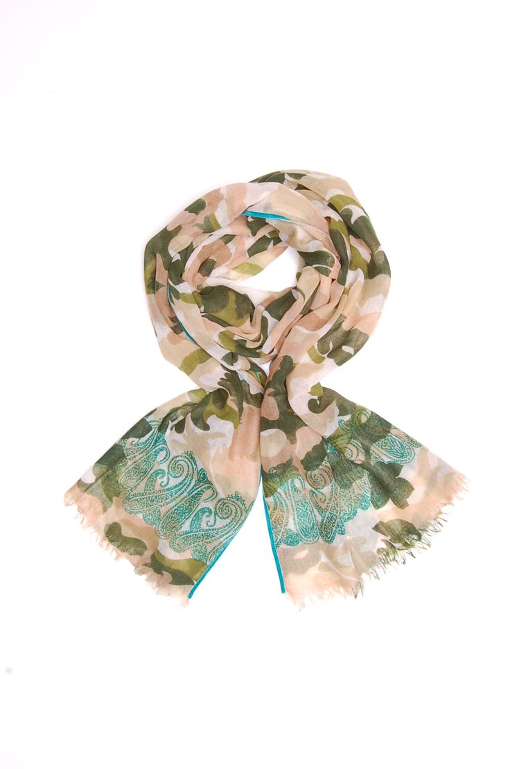 camouflage and paisley scarf printed on wool