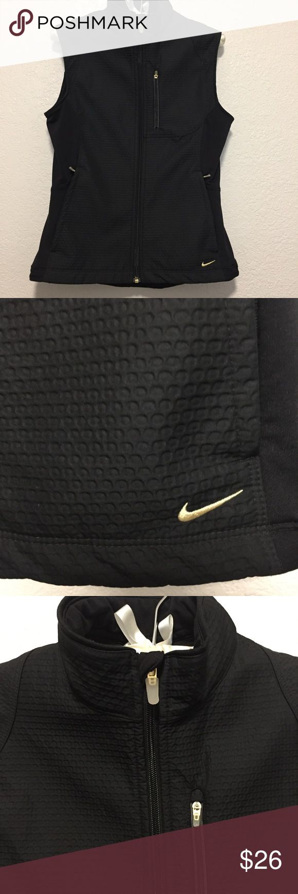✨▪️NIKE SPHERE PRO VEST▪️✨ Black and gold Nike vest in great condition. Thick durable material. This looks great over a thin sweatshirt or a T-shirt. It is true to size. Nike Jackets & Coats Vests
