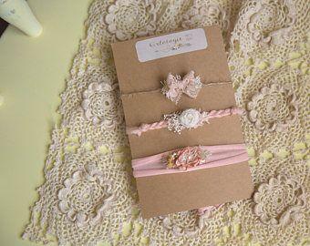 Blush Baby * Set of 3 Blush Pink Tiebacks *Headband * Newborn Tieback * Toddler * Photo Prop* Flower Girl *