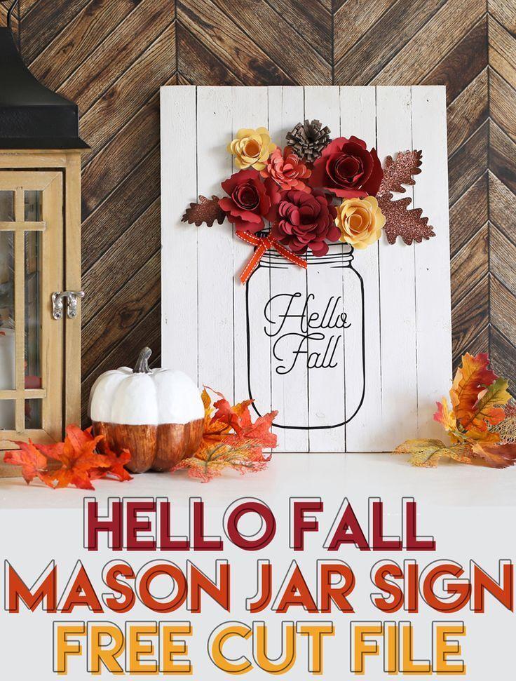 Diy Fall Decor Mason Jar Sign Rolled Paper Flowers Fall Mason
