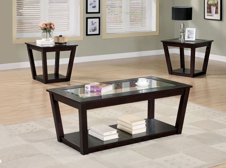 3 Piece Occasional Group With Rich Cappuccino Finish, Glass Top Inserts And  Under Table Storage   701506