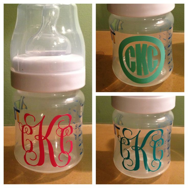 Duh! why havent i done this! monogrammed baby bottles!