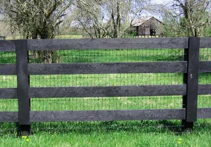 2x4 No-climb fence behind 4 board fence for sheep (to keep the livestock guardian dogs and lambs inside).
