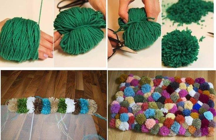 C mo hacer una alfombra casera con pompones de lana for Manualidades para ninos con lana