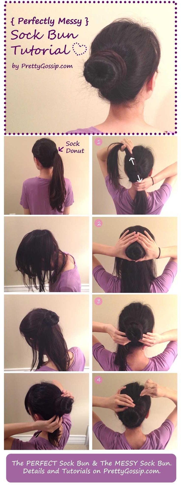 Ever since I cut my hair into layers, I haven't been able to do the sock bun. But NOW, I JUST did. Thanks so this here tutorial.
