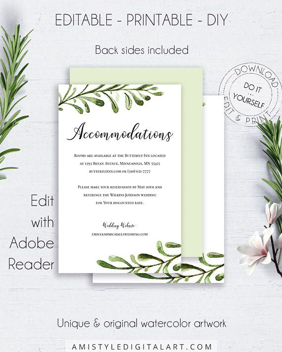 Accommodation Pdf Wedding Insert With Simple But Beautiful Watercolor Greenery Wedding Enclosure Cards Wedding Invitation Enclosure Cards Card Templates Free