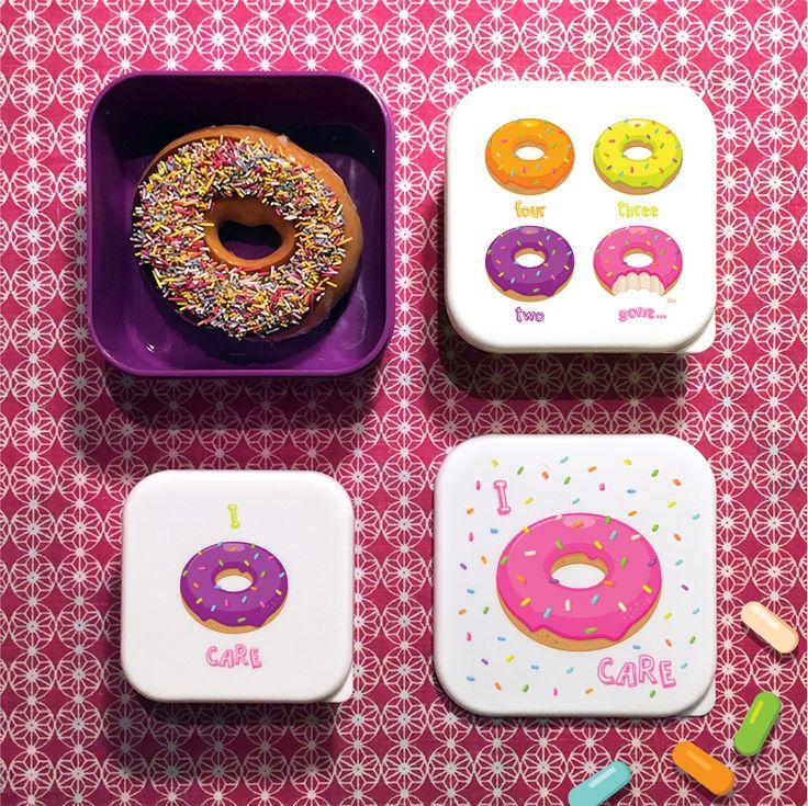 Set de 3 Boîtes à goûter ou snacks design #Donut par puckator Disponible sur www.puckator.fr ref LBOX06