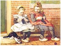 29 augustus 2011: Kleine meisjes worden groot. Afbeelding: ''Poes speelt'', Cornelis Jetses, vroeg 20e eeuw.