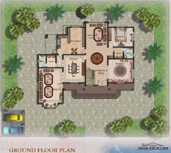 نموذج فيلا طابقين 6000 قدم مربع من اعمال دار التعمير للإستشارات الهندسية Arab Arch Ground Floor Plan House Styles Decor